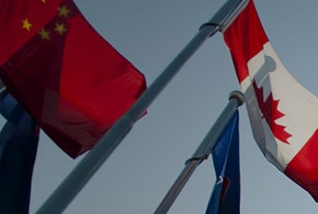 China and Canadian flags