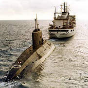 A Russian Kilo-class submarine en route to Iran.