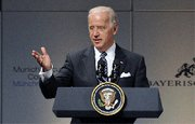 (Feb. 9) -U.S. Vice President Joseph Biden speaks at a Munich security conference Saturday (Gerard Cerles/Getty Images).