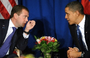 (Feb. 25) -Russian President Dmitry Medvedev, left, and U.S. President Barack Obama speak at a December meeting in Denmark. The leaders agreed in a telephone conversation yesterday on the need to promptly complete a successor to the 1991 Strategic Arms Reduction Treaty (Jewel Samad/Getty Images).