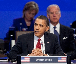(Apr. 14) -U.S. President Barack Obama speaks yesterday at the nuclear security summit in Washington. Participants in the conference agreed to secure the world's loose nuclear material within four years (Andrew Harrer/Getty Images).