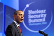 (Apr. 16) -U.S. President Barack Obama, shown speaking Tuesday at this week's Global Nuclear Security Summit in Washington (Jewel Samad/Getty Images).