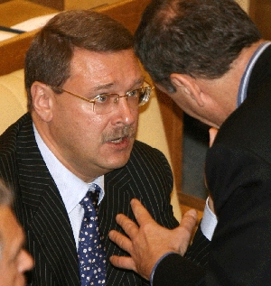 (Nov. 3) -Duma International Affairs Committee Chairman Konstantin Kosachyov, shown in 2008. Kosachyov's panel withdrew its recommendation that Russia ratify a new nuclear arms control treaty with the United States in response to yesterday's U.S. midterm election results (Alexey Sazonov/Getty Images).