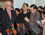 (Nov. 22) -Obama administration special envoy Stephen Bosworth, at left, speaks to reporters in Seoul today following news that North Korea had shown a visiting U.S. expert a new uranium enrichment plant (Jung Yeon-je/Getty Images).