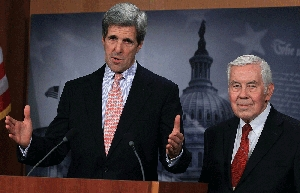 (Dec. 22) -U.S. Senate Foreign Relations Committee Chairman John Kerry (D-Mass.), left, and ranking Republican Richard Lugar (Ind.) speak to reporters yesterday following a vote to end debate on ratifying New START. The Senate today ratified the U.S.-Russian nuclear pact (Mark Wilson/Getty Images).