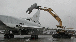 (Feb. 3) -A Ukrainian nuclear-capable Tu-160 strategic bomber is dismantled under the U.S. Cooperative Threat Reduction program. A continuing budget resolution implemented in December does not include $74 million in additional CTR funding requested by the Obama administration for this fiscal year, according to an independent assessment (U.S. Defense Threat Reduction Agency photo).