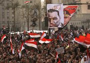 (Feb. 8) -Egyptian antigovernment protesters rally today in Cairo's Tahrir Square. It remains unclear how the large-scale challenge to Egypt's leadership could affect the nation's stance on WMD proliferation issues, according to analysts (John Moore/Getty Images).