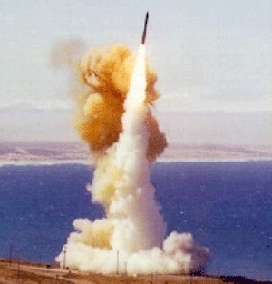 (Mar. 23) -A U.S. Minuteman 3 ICBM takes off in a test flight. The Obama administration's fiscal 2012 budget proposal includes $2.6 million to study technology options for a potential successor to the missile, the Air Force has said (U.S. Air Force photo).