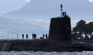 (May. 31) -A British ballistic-missile submarine, shown in 2009. The storage and processing facility for the United Kingdom's submarine-launched ballistic missiles is set to be managed by a consortium of private firms headed by U.S. defense contractor Lockheed Martin (Jeff Mitchell/Getty Images).