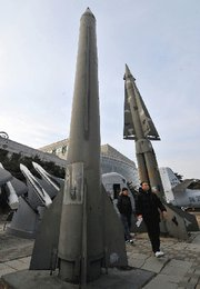 A mock North Korean Scud B missile, left, displayed in February at a museum in Seoul. The Obama administration on Monday confirmed the United States had intercepted a North Korean vessel late last month; the ship was suspected of transferring missile components to Myanmar, according to news reports (Jung Yeon-je/Getty Images).