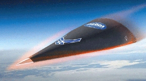 (Jun. 24) -An artist's conception of the Hypersonic Technology Vehicle-2, a prototype component of a planned conventional missile capable of striking any location in the world within one hour. The U.S. Air Force late last month requested information from defense contractors about the technologies they might propose for the future weapon (U.S. Defense Advanced Research Projects Agency/Fox News).