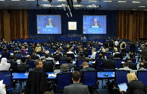"(Sep. 21) -The International Atomic Energy Agency General Conference convenes on Monday in Vienna, Austria. A top Israeli nuclear official on Tuesday told the gathering that Middle Eastern nations must achieve a ""durable"" peace before a nuclear weapon-free zone can be established in the region (Samuel Kubani/Getty Images)."