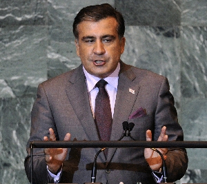 (Sep. 29) -Georgian President Mikhail Saakashvili, shown last week, said his country is willing to accommodate a long-range U.S. radar station within its borders as part of a planned European antimissile framework (Timothy Clary/Getty Images).