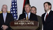 (Sep. 30) -U.S. Senator Lindsey Graham (R-S.C.) speaks during a press conference in Tripoli on Thursday with fellow Repbulican Senators John McCain (Ariz.), left, Mark Kirk (Ill.), center-right, and Marco Rubio (Fla.). Libya's chemical warfare stockpile and cache of uranium yellowcake appear safe from capture by supporters of former dictator Muammar Qadhafi, Kirk said on Thursday (Mahmud Turkia/Getty Images).