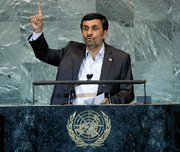 (Oct. 4) -Iranian President Mahmoud Ahmadinejad, shown addressing last month's meeting of the U.N. General Assembly, suggested on the event's sidelines that his country could halt production of higher-enriched uranium in return for medical reactor fuel from other nations. Tehran on Monday said it would increase production of the refined material if other governments do not agree to a related exchange plan (U.N. photo).