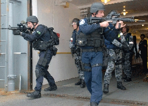 (Oct. 6) -U.S. and Australian navy personnel conduct a security sweep of a ship in 2009 as part of an exercise under the Proliferation Security Initiative, a program aimed at intercepting illicit WMD transfers. Concerns over legislation proposed by the Obama administration for complying with four international nuclear security and counterterrorism pacts might prompt lawmakers to develop a counterproposal, the top Democrat on a key congressional committee suggested on Wednesday (U.S. Defense Department photo).