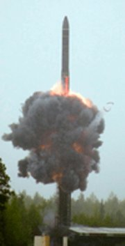 (Oct. 17) -A Russian RS-24 ICBM, shown in a May 2007 test launch. Nuclear weapons experts were divided at a Friday hearing on Capitol Hill over the impact that Chinese and Russian nuclear arms modernization efforts will have on the U.S. strategic deterrent (AP Photo).