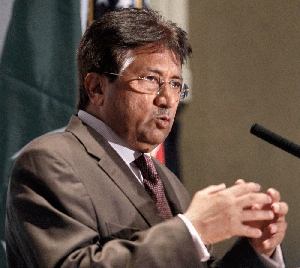 (Oct. 27) -Former Pakistani President Pervez Musharraf, shown last week, on Wednesday countered concerns raised by other governments about the protection of his country's nuclear weapons and its links to extremist groups (AP Photo/Danny Johnston).