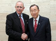 (Nov. 3) -U.N. Secretary General Ban Ki-moon, right, poses on Wednesday with incoming interim Libyan Prime Minister Abdurrahim El Keib. The U.N. chief on Wednesday said international experts would support Libyan efforts to lock down and oversee the country's chemical warfare and atomic material (U.N. photo).
