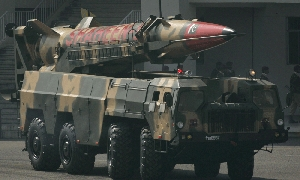 (Nov. 7) -A Pakistani nuclear-capable Shaheen 2 missile, shown on display during a 2008 parade in Islamabad. Pakistan on Sunday rejected a U.S. media assertion that procedures previously used by the nation for transferring its nuclear warheads made the weapons more vulnerable to seizure by militants (AP Photo/Emilio Morenatti).