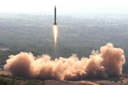 (Nov. 9) -A Pakistani nuclear-capable Ghauri missile lifts off in a 2008 trial. The United States has developed an undisclosed blueprint for securing Pakistan's nuclear weapons against extremists, potentially by force (AP Photo/Interservices Public Relations).