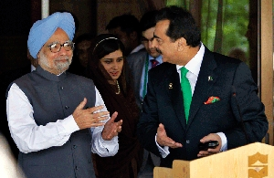 (Nov. 10) -Pakistani Prime Minister Yousuf Raza Gilani, right, and Indian Prime Minister Manmohan Singh gesture after their Thursday meeting on the sidelines of a South Asian regional summit in the Maldives. The leaders lauded recent steps their nations have taken to overcome historical tensions (AP Photo/Eranga Jayawardena).