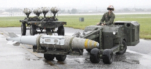 (Nov. 11) -A U.S. GBU-32 joint direct attack munition is transferred in May at Marine Corps Air Station Iwakuni in Japan. The Obama administration has reached a tentative deal to supply the United Arab Emirates with thousands of joint direct attack munitions, which could have applications in a potential attack against subterranean atomic sites in Iran (U.S. Marine Corps photo).