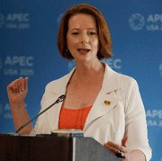 (Nov. 15) -Australian Prime Minister Julia Gillard, shown on Sunday, on Tuesday urged her political party to permit the transfer of domestically mined uranium to India, which possesses nuclear weapons and has not signed the Nuclear Nonproliferation Treaty (AP Photo/Chris Carlson).
