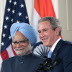 President Bush and India's Prime Minister Singh at a White House news conference, July 18, 2005.