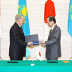 Signing ceremony in June 2008, Former PM Fukuda and President Nazarbayev,