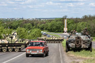 Ukrainian forces at a checkpoint on the edge of Slovyansk, the main town occupied by pro-Russian activists, on Tuesday. House Armed Services Committee Republicans are looking to block U.S. nuclear security work in Russia until the crisis is resolved.