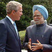 Indian Prime Minister Manmohan Singh and U.S. President George W. Bush.