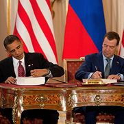 President Barack Obama and Russian President Dmitry Medvedev sign New START, April 8, 2010