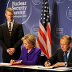 Secretary of State Hilary Clinton and Foreign Minister Sergey Lavrov sign the Plutonium Disposition Protocol at the April 2010 Nuclear Security Summit.