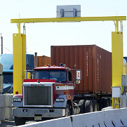 A truck passes through a radiation portal monitor at the port of Newark, New Jersey.