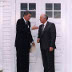 President Reagan greets Soviet General Secretary Gorbachev at Hofdi House during the Reykjavik Summit, Iceland