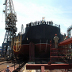 The hull of Russia's first floating nuclear power plant, the Academician Lomonosov, is launched at the Baltiskiy Shipyard, St. Petersburg on 30 June 2010,