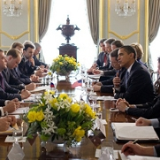 President Barack Obama with Russian President Dmitry Medvedev at bilateral meeting, Winfield House, London, April 1, 2009.
