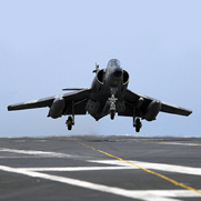 French Super-Etendard aircraft from the nuclear-powered aircraft carrier, French navy ship Charles de Gaulle (R 91)