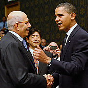 IAEA Director General Mohamed ElBaradei meets US President Barack Obama during the 24 September UN Security Council summit.