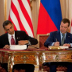 Presidents Obama and Medvedev signed the New START nuclear arms reduction treaty on April 8, 2010.[30]