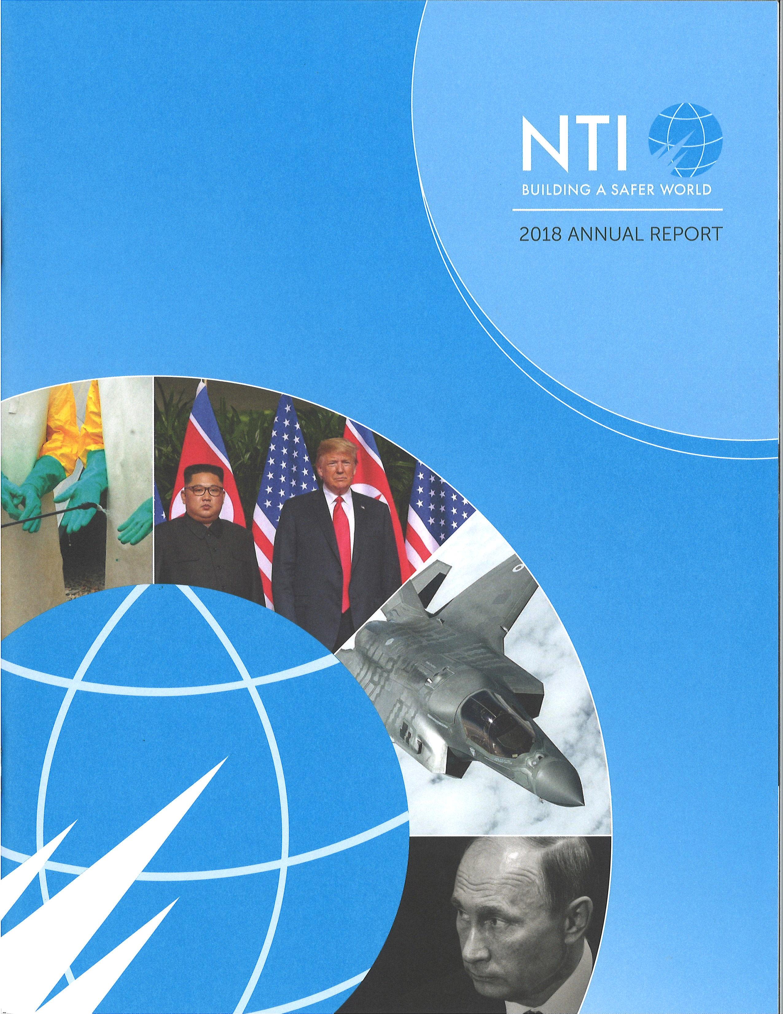 "Cover for the ""NTI 2018 Annual Report "" report"